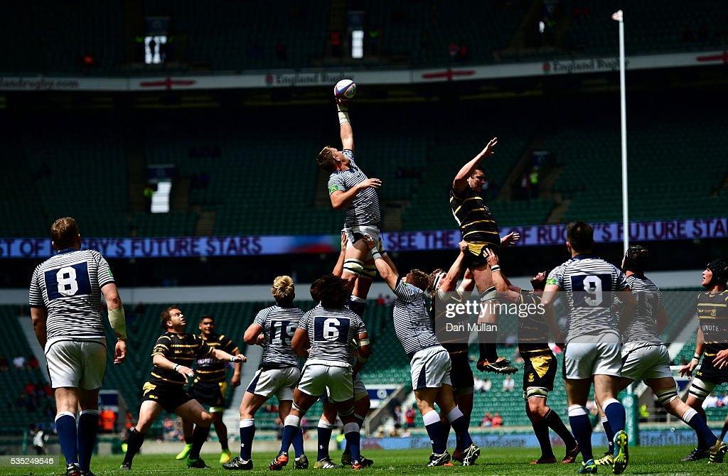 The teams compete at the lineout during the 2016 Bill Beaumont Cup Final between Cornwall and Cheshire at Twickenham Stadium on May 29, 2016 in London, England.