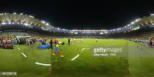 The teams enter the field before the 2014 FIFA World Cup Brazil Group E match between Ecuador v France at Maracana on June 25 2014 in Rio de Janeiro...