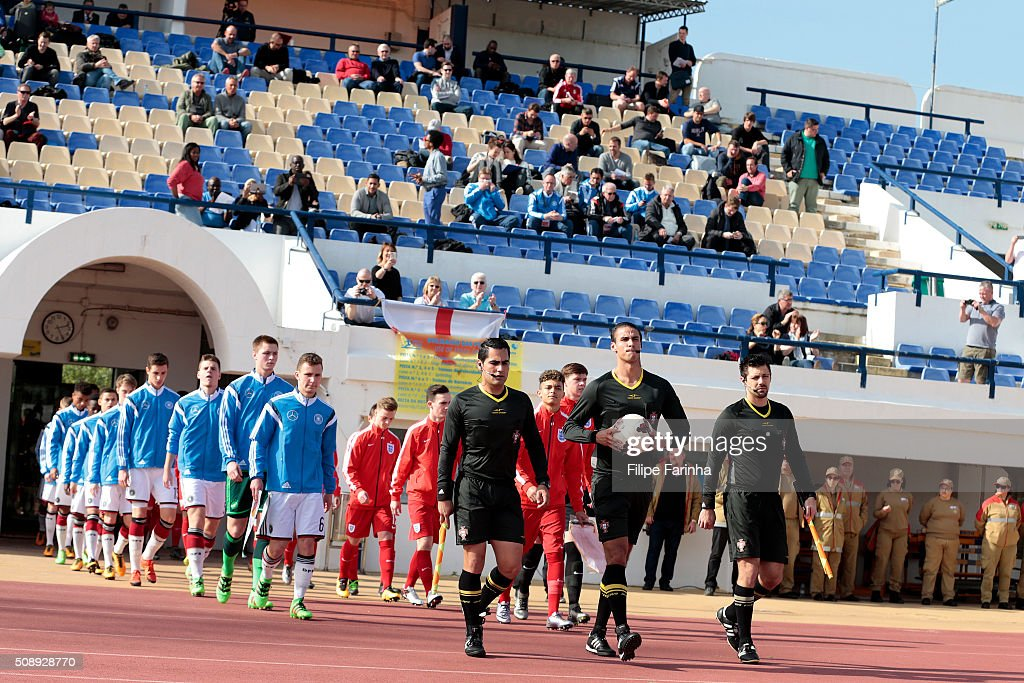 The teams enter the pitch during the UEFA Under17 match between U17 England v U17 Germany on February 7, 2016 in Lagos, Portugal.