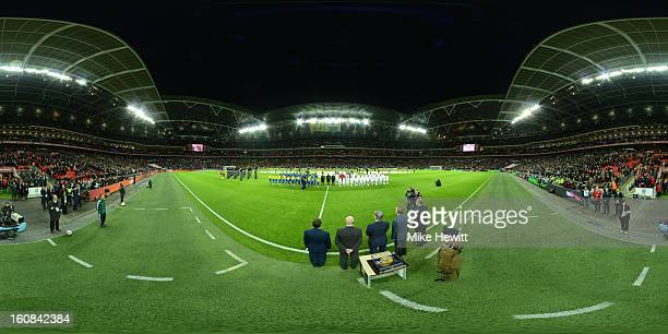 The teams line up ahead of the International friendly between England and Brazil at Wembley Stadium on February 6 2013 in London England