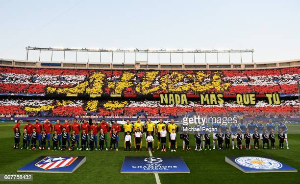 The team's line up ahead of the UEFA Champions League Quarter Final first leg match between Club Atletico de Madrid and Leicester City at Vicente...