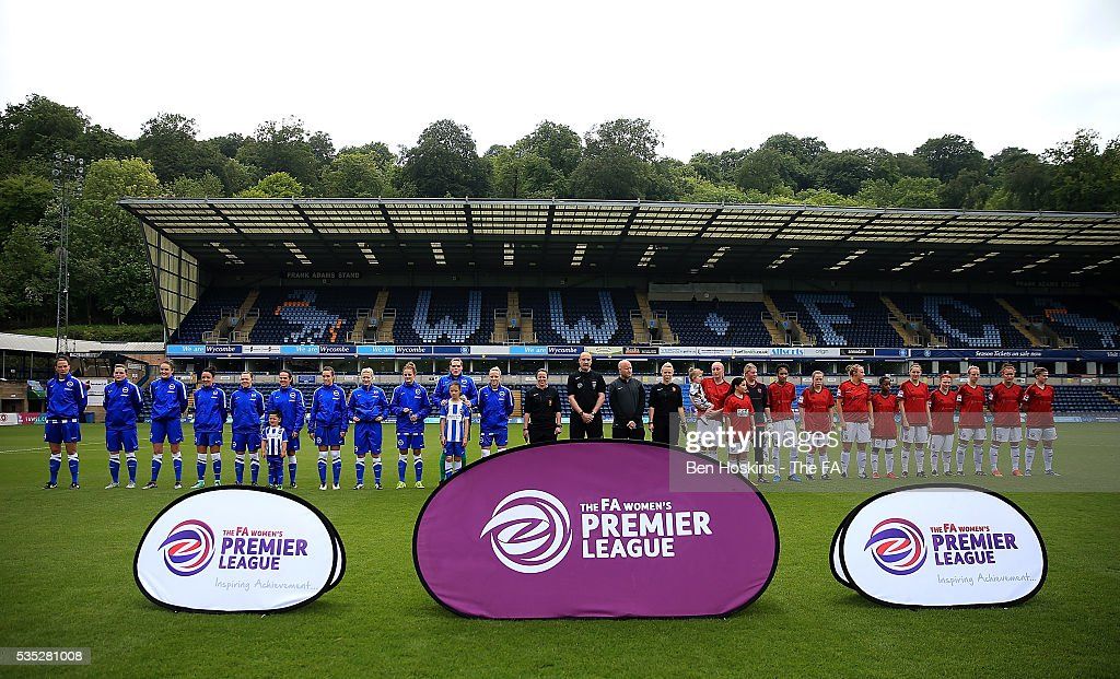 The teams line up ahead of the WPL Playoff match between Brighton & Hove Albion WFC and Sporting Club Albion LFC at Adams Park on May 29, 2016 in High Wycombe, England.