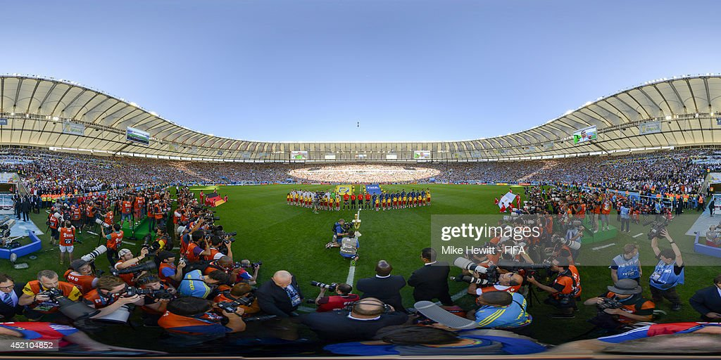 The teams line up before the 2014 FIFA World Cup Brazil final between Germany and Argentina at Maracana on July 13, 2014 in Rio de Janeiro, Brazil.