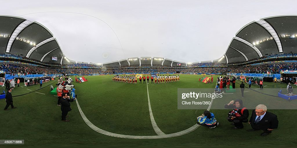 The teams line up before the 2014 FIFA World Cup Brazil Group A match between Mexico and Cameroon at Estadio das Dunas on June 13, 2014 in Natal, Brazil.