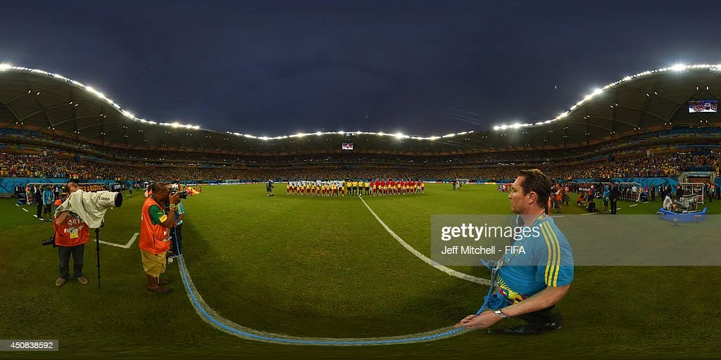 The teams line up before the 2014 FIFA World Cup Brazil Group between Cameroon v Croatia at Arena Amazonia on June 18, 2014 in Manaus, Brazil.
