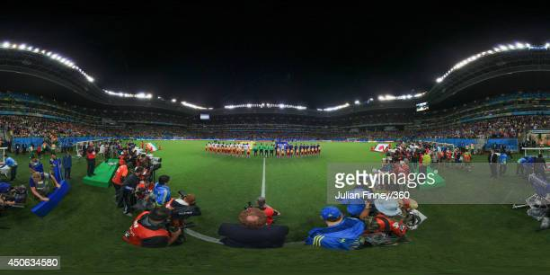 The teams line up before the 2014 FIFA World Cup Brazil Group C match between Cote D'Ivoire v Japan at Arena Pernambuco on June 14 2014 in Recife...