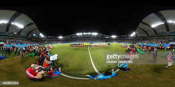 The teams line up before the 2014 FIFA World Cup Brazil Group C match between Japan v Greece at Estadio das Dunas on June 19 2014 in Natal Brazil