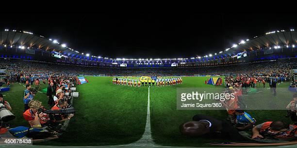The teams line up before the 2014 FIFA World Cup Brazil Group F match between Argentina v BosniaHerzegovina at Maracana on June 15 2014 in Rio de...