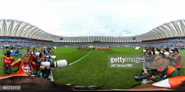The teams line up before the 2014 FIFA World Cup Brazil Group F match between Nigeria v Argentina at Estadio BeiraRio on June 25 2014 in Porto Alegre...