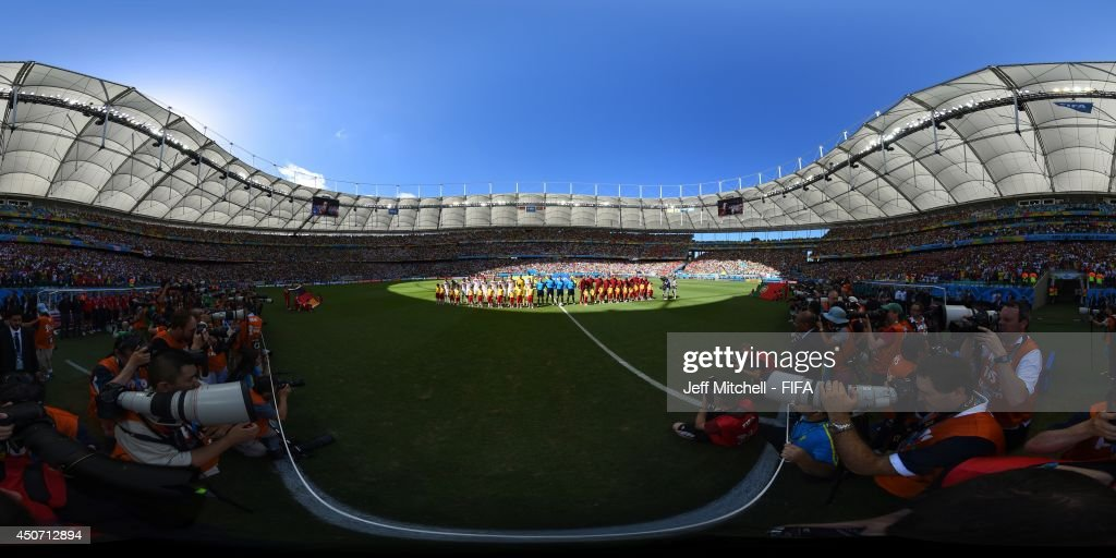 The teams line up before the 2014 FIFA World Cup Brazil Group G match between Germany v Portugal at Arena Fonte Nova on June 16, 2014 in Salvador, Brazil.