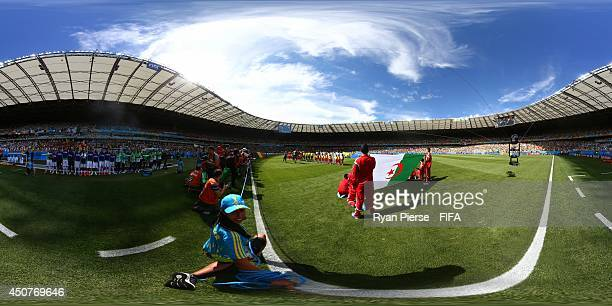 The teams line up before the 2014 FIFA World Cup Brazil Group Group H match between Belgium v Algeria at Estadio Mineirao on June 17 2014 in Belo...
