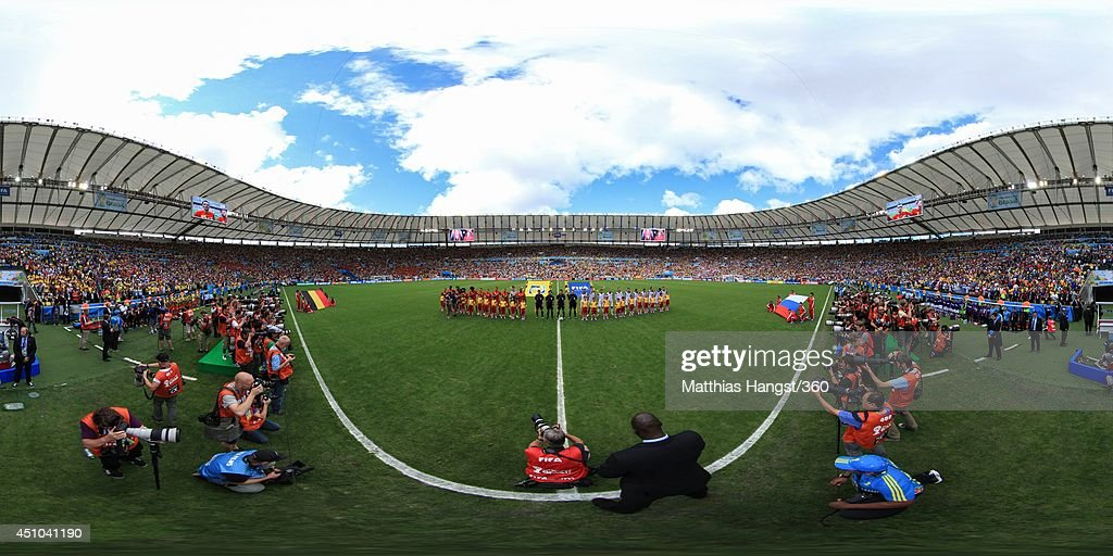 The teams line up before the 2014 FIFA World Cup Brazil Group H match between Belgium v Russia at Maracana on June 22, 2014 in Rio de Janeiro, Brazil.