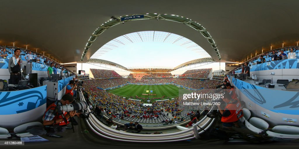 The teams line up before the 2014 FIFA World Cup Brazil Group H match between Korea Republic v Belgium at Arena de Sao Paulo on June 26 2014 in Sao...