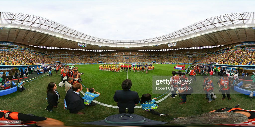 The teams line up before the 2014 FIFA World Cup Brazil Play-off for third place match between Brazil v Netherlands at Estadio Nacional on July 12, 2014 in Brasilia, Brazil.