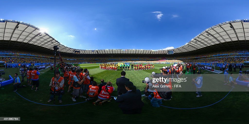 The teams line up before the 2014 FIFA World Cup Brazil Round of 16 match between Brazil and Chile at Estadio Mineirao on June 28 2014 in Belo...