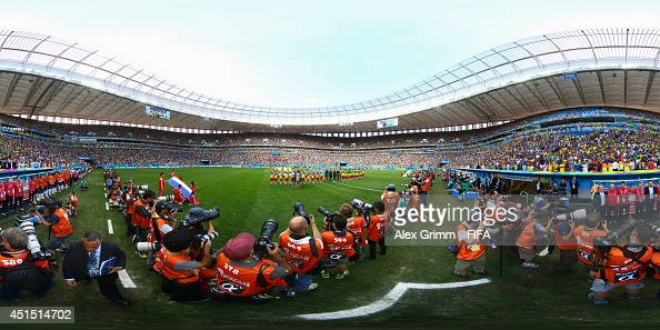 The teams line up before the 2014 FIFA World Cup Brazil Round of 16 match between France v Nigeria at Estadio Nacional on June 30 2014 in Brasilia...