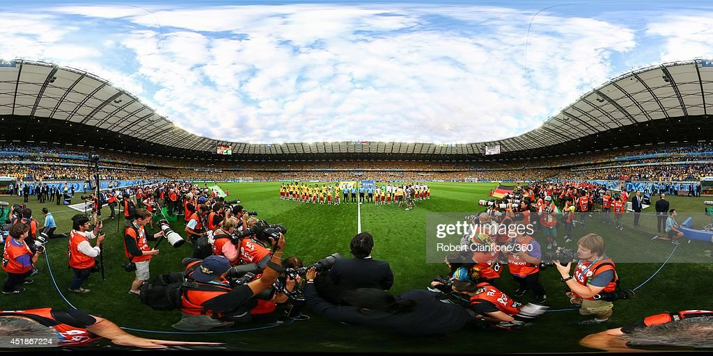 The teams line up before the 2014 FIFA World Cup Brazil semi-final match between Brazil v Germany at Estadio Mineirao on July 8, 2014 in Belo Horizonte, Brazil.
