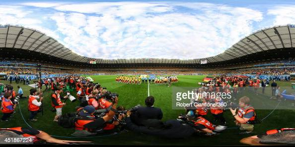 The teams line up before the 2014 FIFA World Cup Brazil semifinal match between Brazil v Germany at Estadio Mineirao on July 8 2014 in Belo Horizonte...