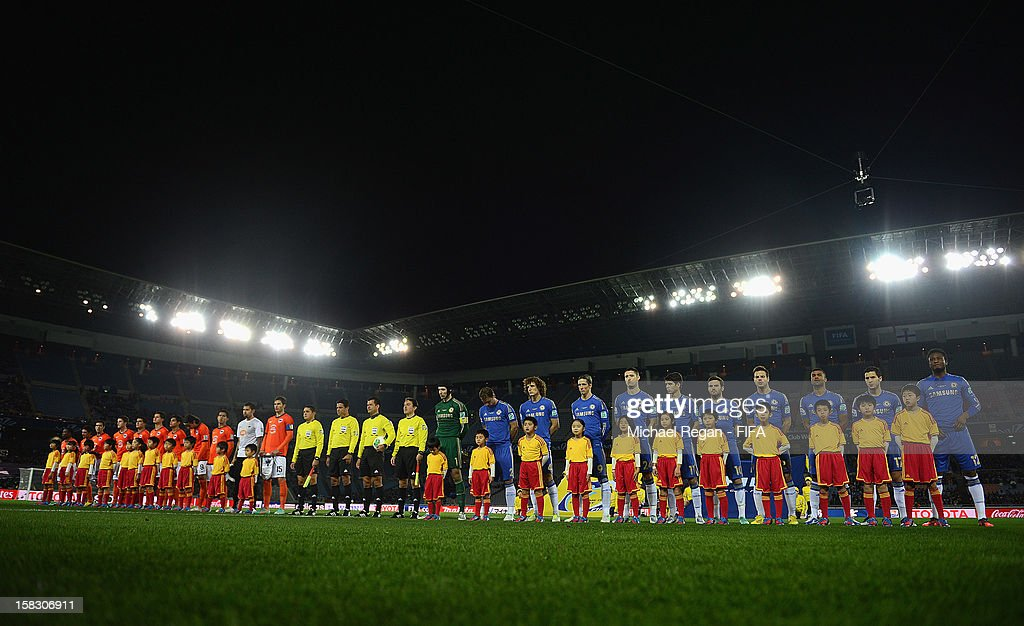 The teams line up before the FIFA Club World Cup Semi Final match between CF Monterrey and Chelsea at International Stadium Yokohama on December 13, 2012 in Yokohama, Japan.