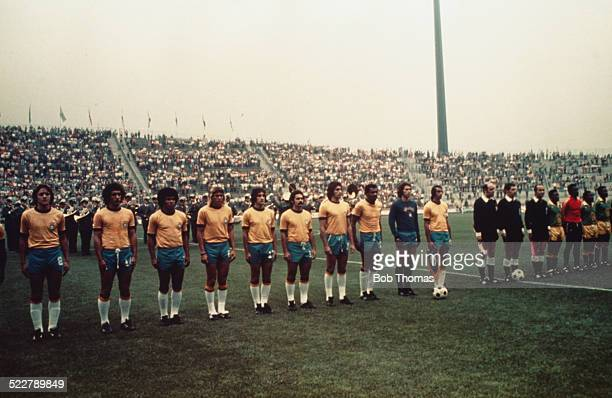 The teams line up before the FIFA World Cup match between Zaire and Brazil at the Parkstadion in Gelsenkirchen Germany 22nd June 1974 Brazil won the...