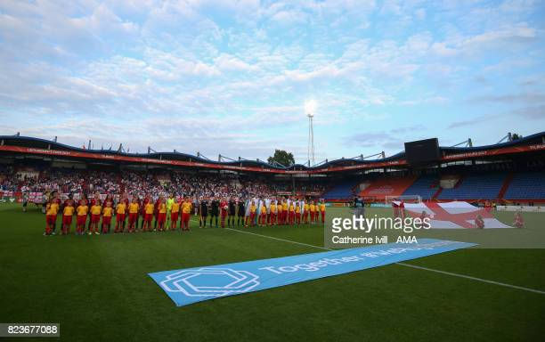 The teams line up before the UEFA Women's Euro 2017 match between Portugal and England at Koning Willem II Stadium on July 27 2017 in Tilburg...