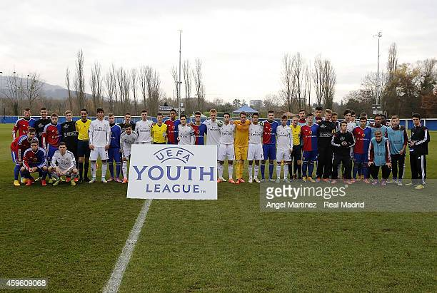 The teams line up before the UEFA Youth League match between FC Basel 1893 and Real Madrid at Campus FC Basel on November 26 2014 in Basel Switzerland