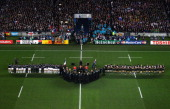The teams line up during the 2011 IRB Rugby World Cup Final match between France and New Zealand at Eden Park on October 23 2011 in Auckland New...