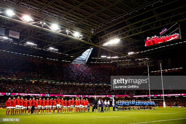 The teams line up during the 2015 Rugby World Cup Pool A match between Wales and Uruguay at the Millennium Stadium on September 20 2015 in Cardiff...