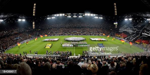 The teams line up for national anthems prior to the FIFA 2014 World Cup Qualifier match between Germany and the Republic of Ireland at...