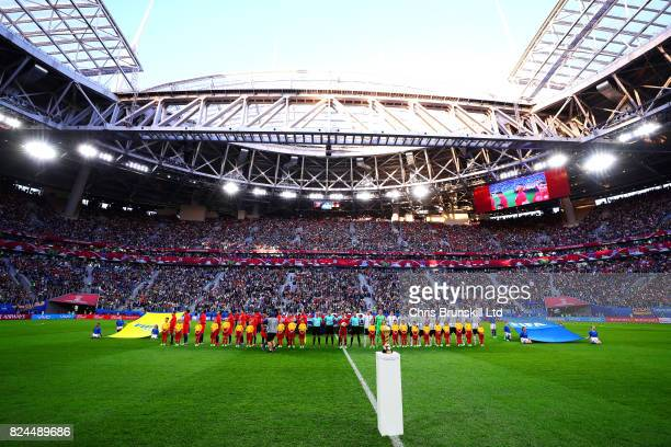 The teams line up for the national anthems before the FIFA Confederations Cup Russia 2017 Final match between Chile and Germany at Saint Petersburg...