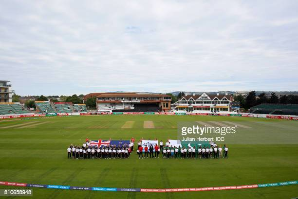 The teams line up for the national anthems before the ICC Women's World Cup 2017 match between New Zealand and Pakistan at The County Ground on July...