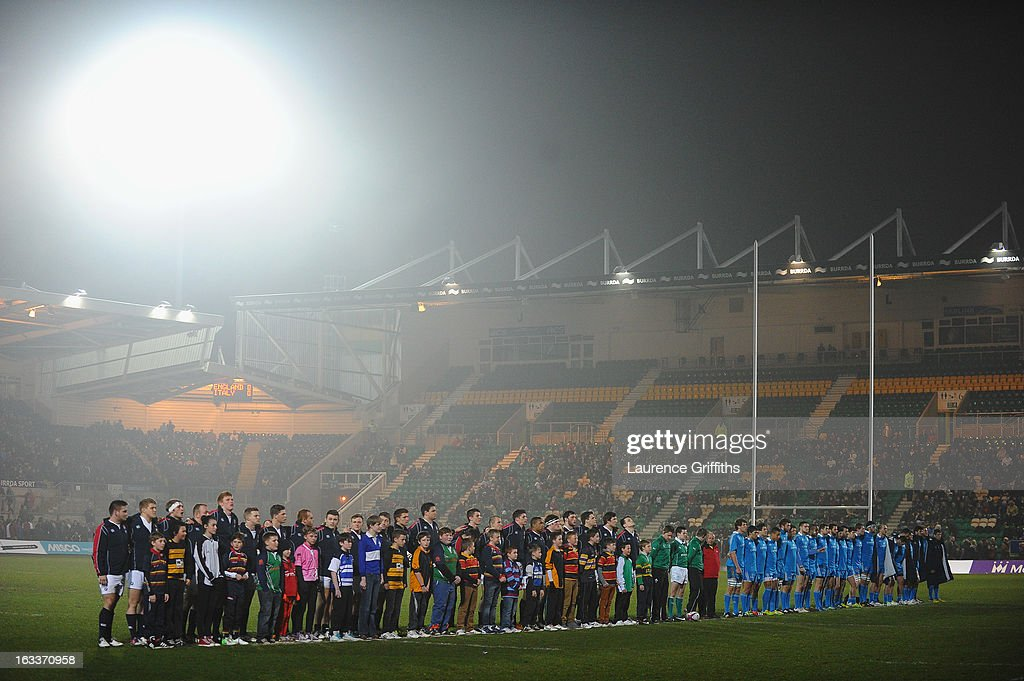 The Teams line up for the National Anthems before the International match between England U20 and Italy U20 at Franklin's Gardens on March 8, 2013 in Northampton, England.