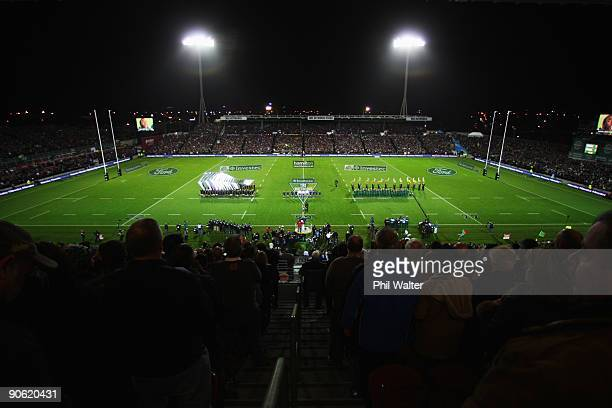 The teams line up for the National Anthems before the Tri Nations Test between the New Zealand All Blacks and South African Springboks at Waikato...