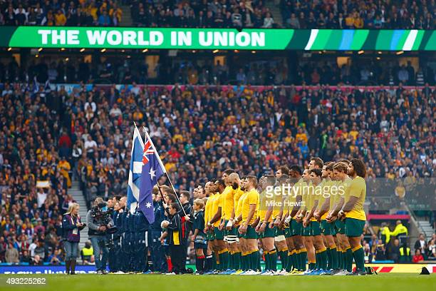 The teams line up for the national anthems during the 2015 Rugby World Cup Quarter Final match between Australia and Scotland at Twickenham Stadium...