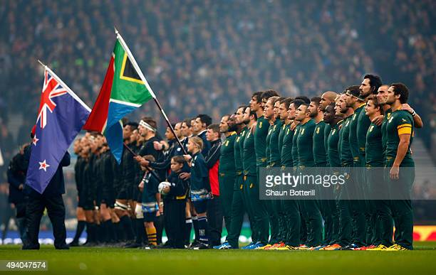 The teams line up for the National Anthems during the 2015 Rugby World Cup Semi Final match between South Africa and New Zealand at Twickenham...