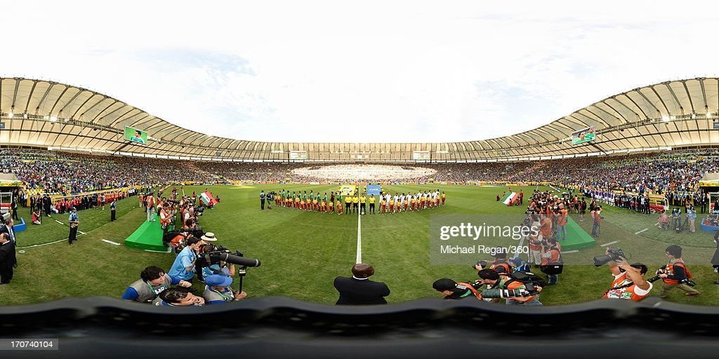The teams line up prior to the FIFA Confederations Cup Brazil 2013 Group A match between Mexico and Italy at the Maracana Stadium on June 16, 2013 in Rio de Janeiro, Brazil.