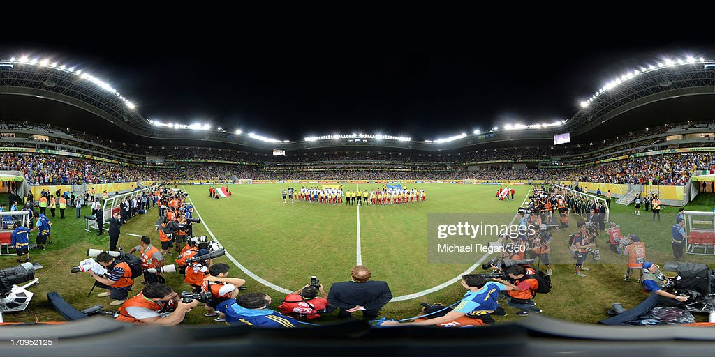 The teams line up prior to the FIFA Confederations Cup Brazil 2013 Group A match between Italy and Japan at Arena Pernambuco on June 19, 2013 in Recife, Brazil.