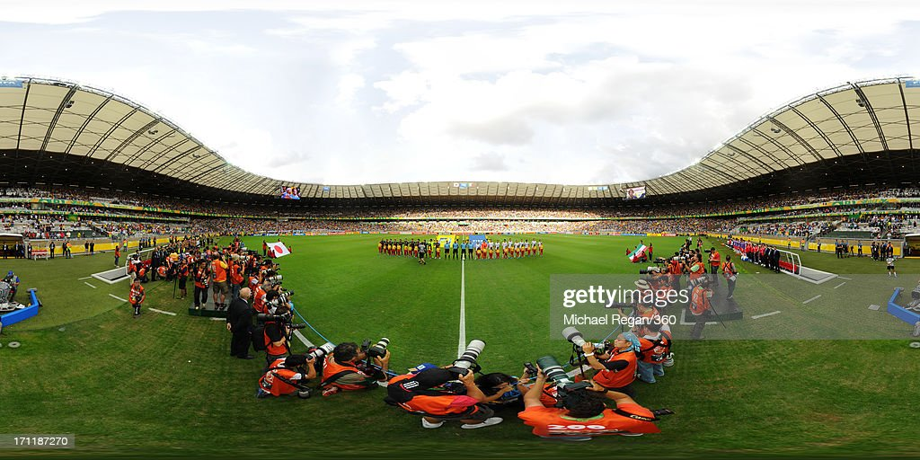 The teams line up prior to the FIFA Confederations Cup Brazil 2013 Group A match between Japan and Mexico at Estadio Mineirao on June 22, 2013 in Belo Horizonte, Brazil.