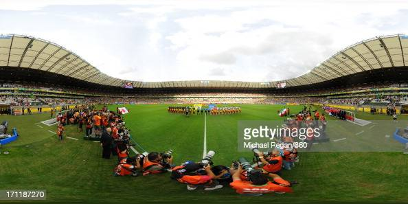 The teams line up prior to the FIFA Confederations Cup Brazil 2013 Group A match between Japan and Mexico at Estadio Mineirao on June 22 2013 in Belo...