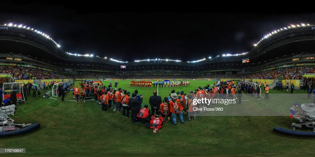 The teams line up prior to the FIFA Confederations Cup Brazil 2013 Group B match between Spain and Uruguay at the Arena Pernambuco on June 16, 2013 in Recife, Brazil.