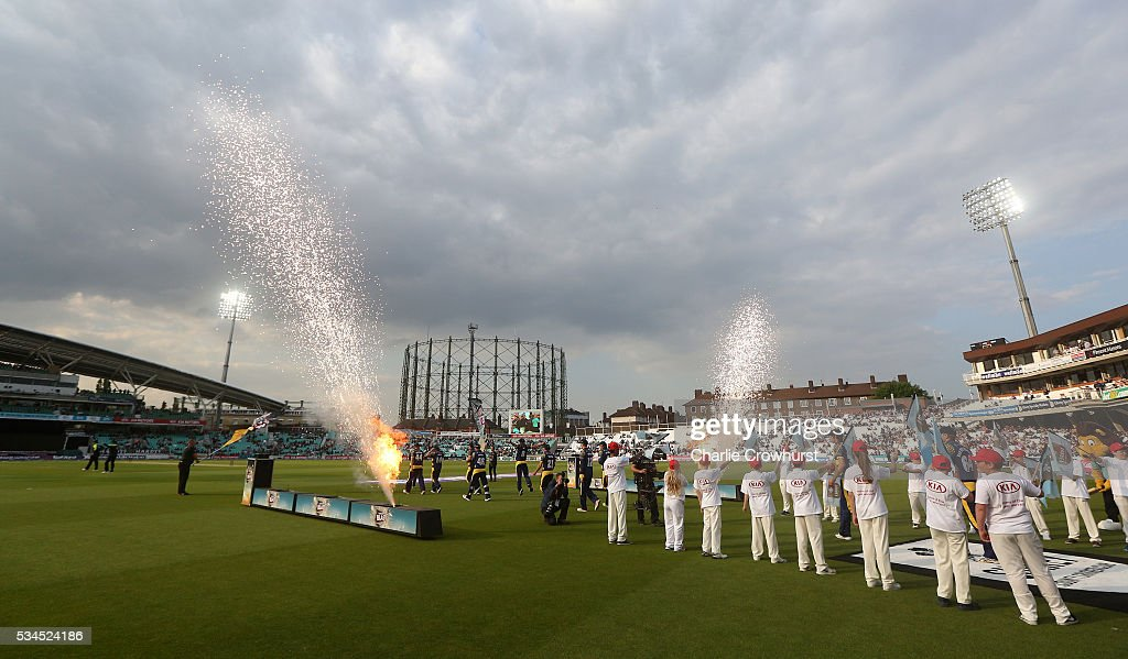 The teams make their way out onto the pitch during the Natwest T20 Blast match between Surrey and Glamorgan at The Kia Oval on May 26, 2016 in London, England.