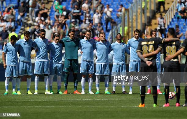 The teams observe a minute of silence for the death of the Italian cycling champion Michele Scarponi before the Serie A match between SS Lazio and US...