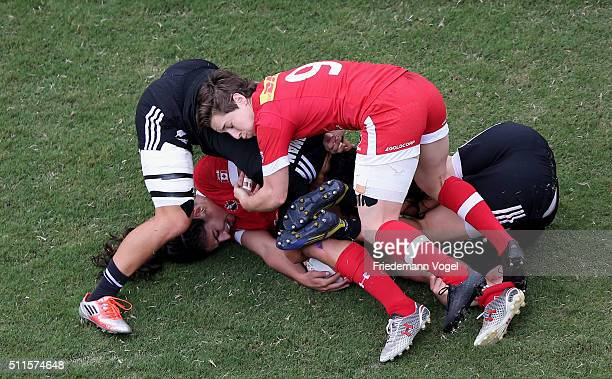 The teams of Canada and New Zealand in action during the Women's HSBC Sevens World Series at Arena Barueri on February 21 2016 in Barueri Brazil