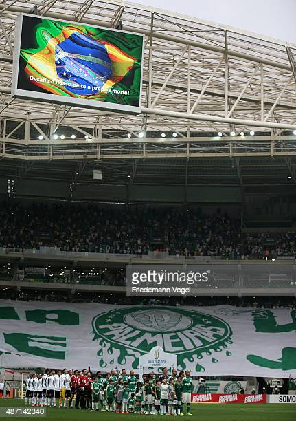 The teams of Corinthians and Palmeiras lines up before the match between Palmeiras and Corinthians for the Brazilian Series A 2015 at Allianz Parque...
