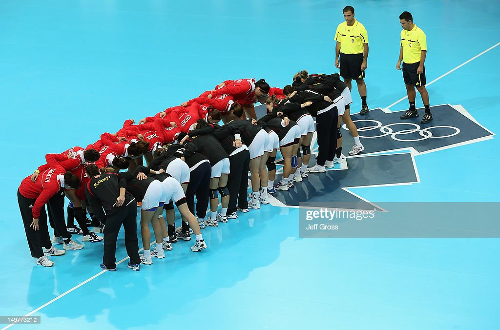 The teams of Croatia and Montenegro get together prior to the start of the Women's Handball Preliminaries Group A match between Croatia and Montenegro on Day 7 of the London 2012 Olympic Games at Copper Box on August 3, 2012 in London, England.