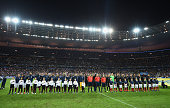 The teams of France and Germany line up prior to the International Friendly match between France and Germany at the Stade de France on November 13...