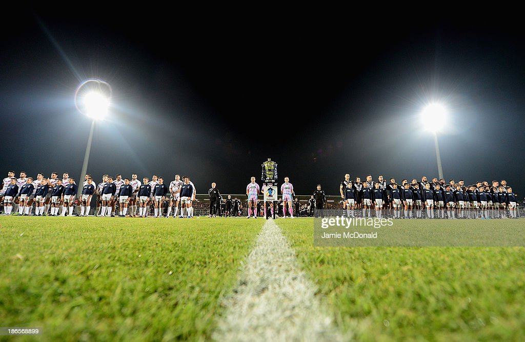 The teams of New Zealand and France line up during the Rugby League World Cup group B match between New Zealand and France at Parc des Sports on November 1, 2013 in Avignon, France.