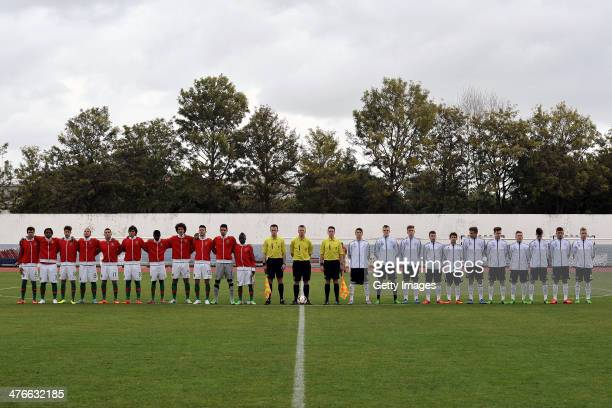 The teams of Portugal and Germany line up during the UEFA Under16 Tournament match between U16 Portugal v U16 Germany on February 26 2014 in Vila...