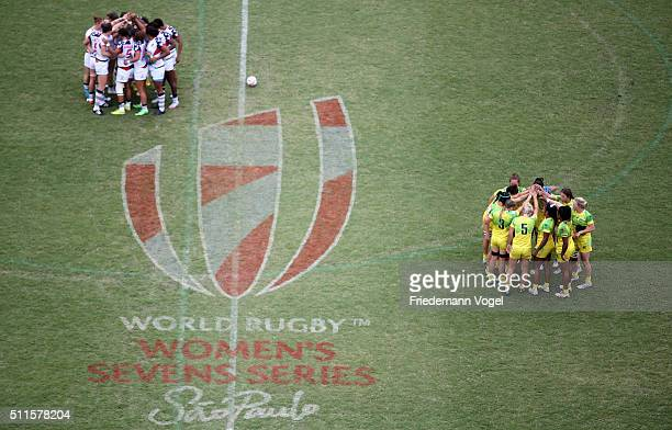 The teams of USA and Australia comes together before the semi final during the Women's HSBC Sevens World Series at Arena Barueri on February 21 2016...