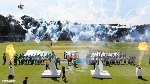 The teams on the pitch for the ceremony before the ICC Champions Trophy semi final between England and Pakistan at SWALEC Stadium on June 14 2017 in...